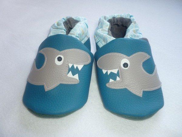 baskets pour pas cher 3dcce a4740 Chaussons souple enfants - requin - Taille 23-fait main