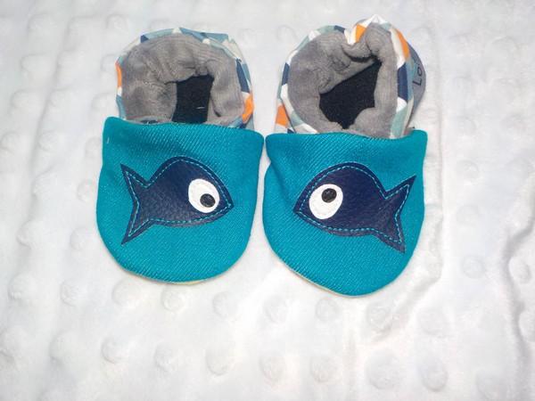 04ba78ffb1cd6 Chaussons souple bébé-petits poissons - Taille 0-6 mois-